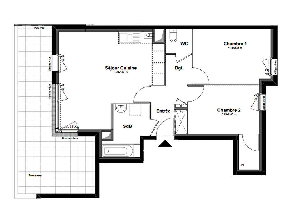 Appartement Bruz 3 pièce(s) 60 m2
