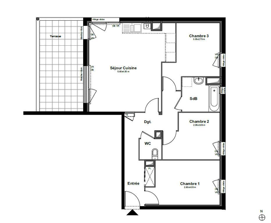 Appartement Bruz 4 pièce(s) 76,75 m2