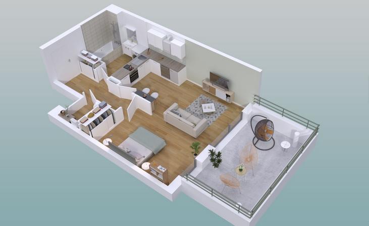 Appartement Guichen 1 pièce(s) 34,88 m2